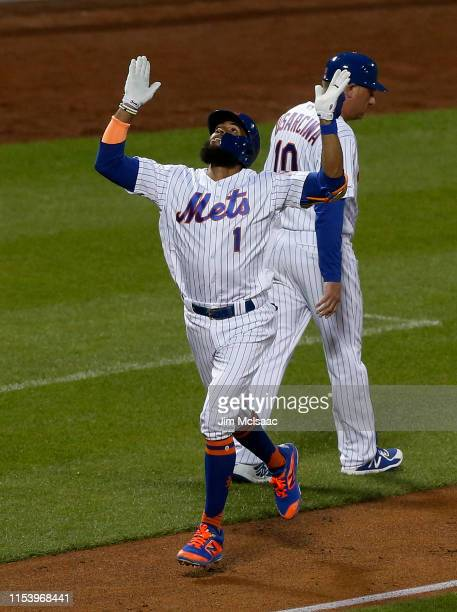 Amed Rosario of the New York Mets reacts as he runs the bases after his fourth inning three run home run against the San Francisco Giants at Citi...
