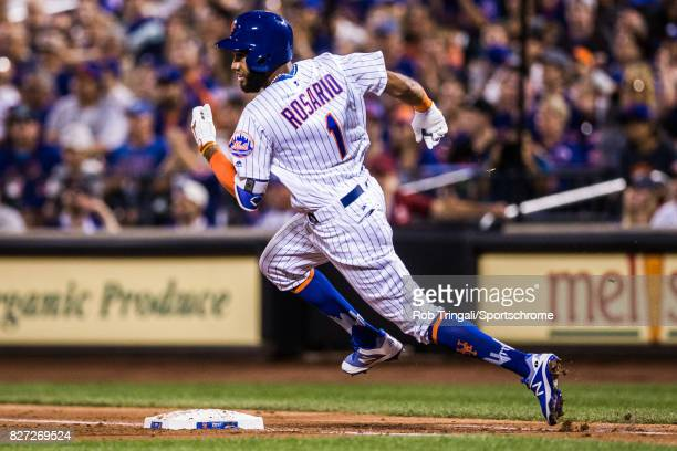 Amed Rosario of the New York Mets verb during the game against the Los Angeles Dodgers at Citi Field on August 4 2017 in the Queens borough of New...