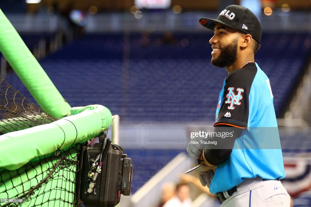 Amed Rosario #1 of the World Team looks on during batting practice prior to the SirusXM All-Star Futures Game at Marlins Park on Sunday, July 9, 2017 in Miami, Florida.