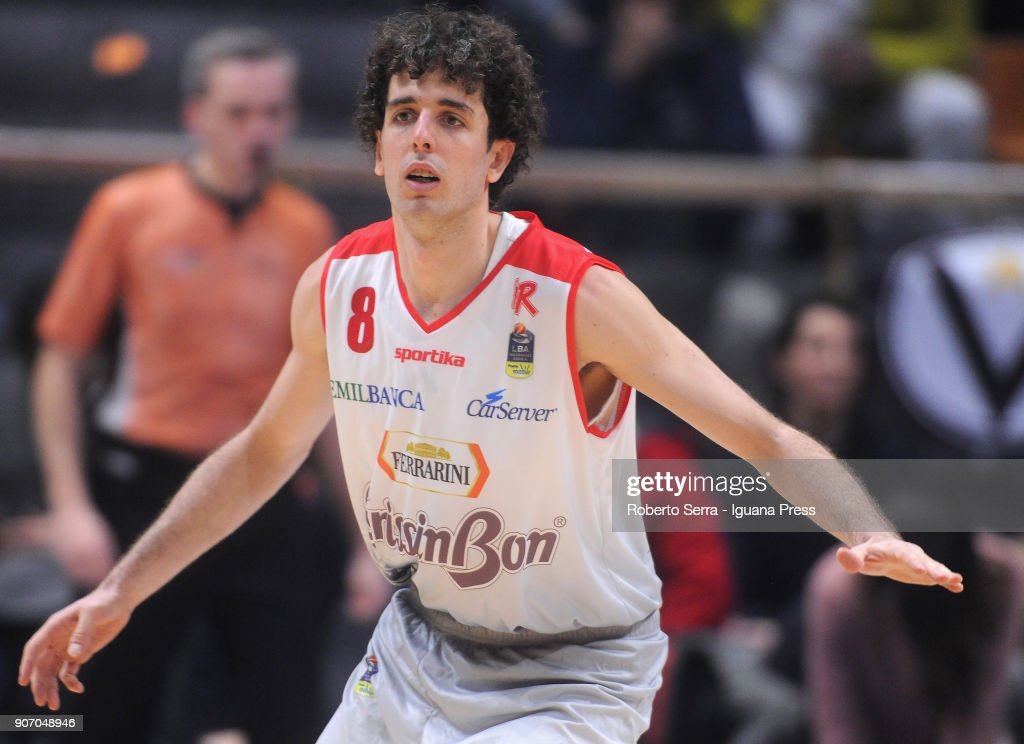 Amedeo Della Valle of Grissin Bon in action during the LBA LegaBasket of Serie A match between Virtus Segafredo Bologna and Grissin Bon Reggio Emilia at PalaDozza on January 13, 2018 in Bologna, Italy.