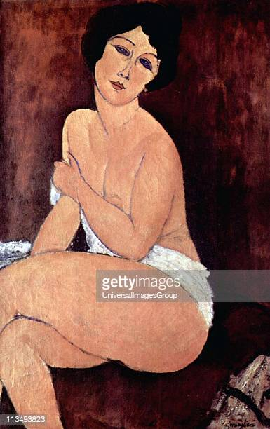 Amedeo Modigliani Italian painter and sculptor 'Nude seated on a sofa' 1917 Oil on canvas