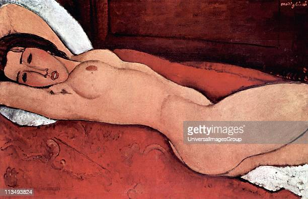 Amedeo Modigliani Italian painter and sculptor 'Nude seated on a sofa' 1917 Oil on canvas 'Reclining nude with arms folded behind her head' 1916
