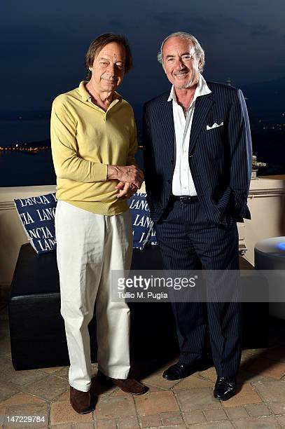 Amedeo Pagani and Michele Lo Foco attend at the Lancia Cafe during the 58th Taormina Film Fest on June 27 2012 in Taormina Italy