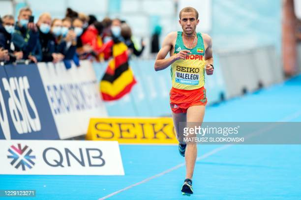 Amedework Walelegn of Ethiopia finishes third in the men's race of the 2020 IAAF World Half Marathon Championships in Gdynia Poland in October 17 2020