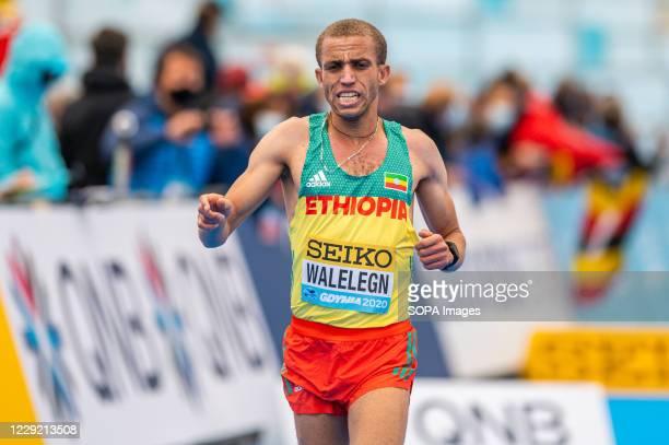 Amedework Walelegn of Ethiopia in action during 2020 IAAF World Half Marathon Championships in Gdynia