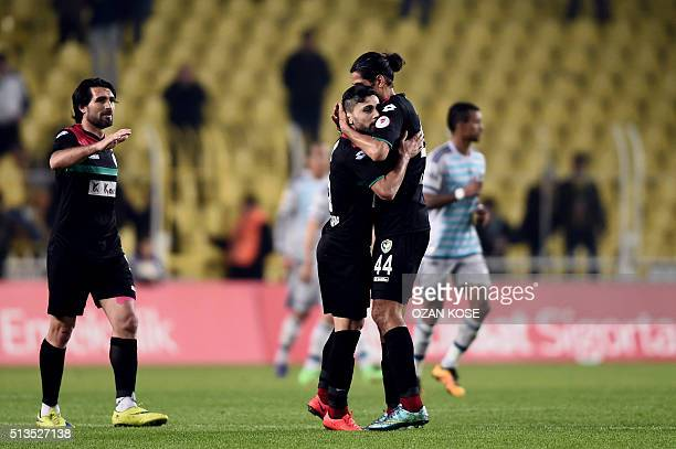 Amedspor's Kamil Icer celebrates with his teammates after scoring a goal during the Zirrat Turkish Cup football match between Fenerbahce and Amedspor...