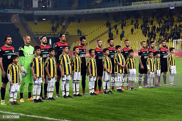 Amedspor`s line up faces the spectators prior to the Zirrat Turkish Cup football match between Fenerbahce and Amedspor at Fenerbahce Ulker Sukru...