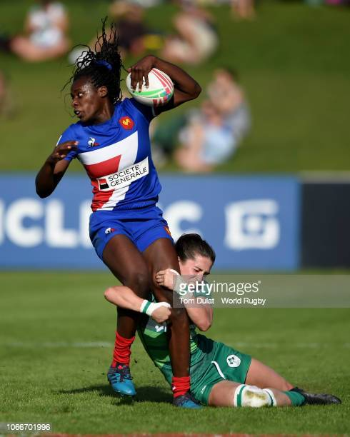 Amee Leigh Murphy Crowe of Ireland tackles Grace Okemba of France during the HSBC World Rugby via Getty Images Women's Sevens Series 2019 Dubai 7th...