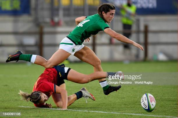 Amee-Leigh Murphy Crowe of Ireland is tackled by Maria Garcia of Spain during the Rugby World Cup 2021 Europe Qualifying match between Spain and...