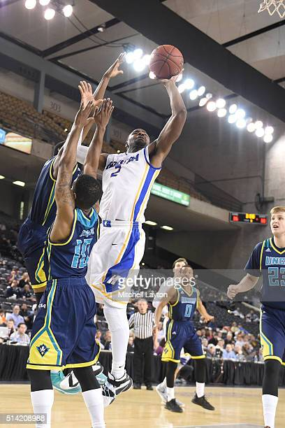 Ameen Tanksley of the Hofstra Pride drives to the basket during the Colonial Athletic Conference Championship college basketball game tournament...