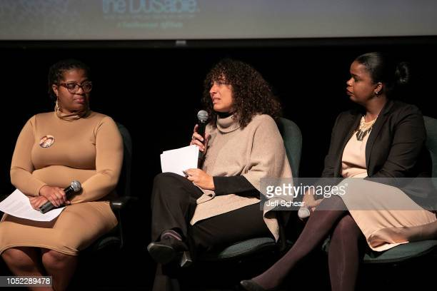 Ameena Matthews Andrea Ritchie and Kim Foxx attend Say Her Name The Life and Death of Sandra Bland Preview and Panel at The DuSable Museum of African...