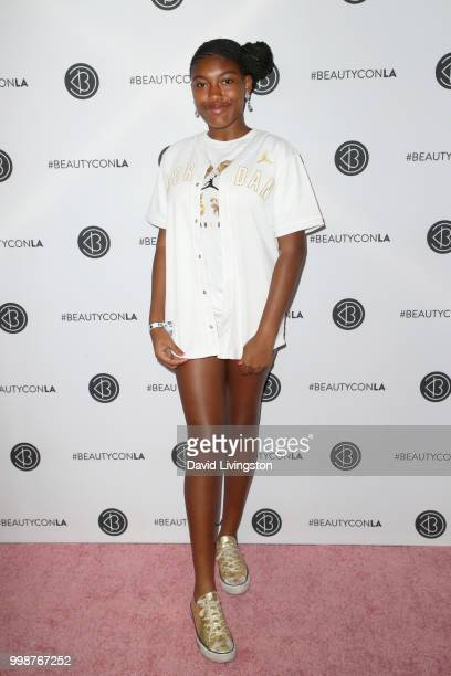 Ameenah Lee attends the Beautycon Festival LA 2018 at the Los Angeles Convention Center on July 14 2018 in Los Angeles California
