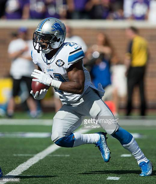 Ameer Abdullah of the Detroit Lions carries the ball during an NFL game against the Minnesota Vikings at TCF Bank Stadium September 20, 2015 in...