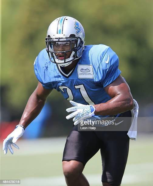 Ameer Abdullah of the Detroit Lions goes through the afternoon drills during training camp on August 18 2015 at Detroit Lions Training Facility Allen...