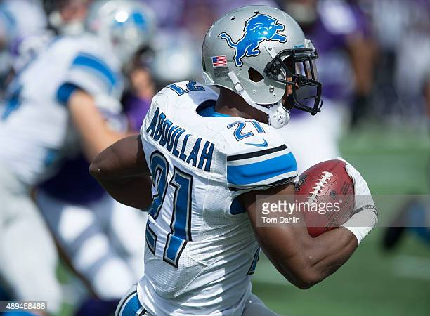 Ameer Abdullah of the Detroit Lions returns a kickoff during an NFL game against the Minnesota Vikings at TCF Bank Stadium September 20, 2015 in...