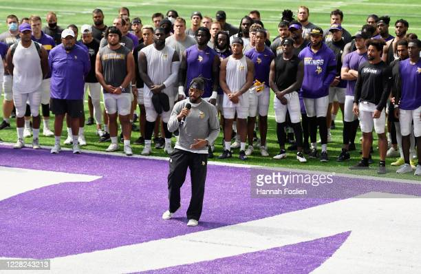 Ameer Abdullah of the Minnesota Vikings addresses the media regarding police violence and race inequalities during training camp on August 28, 2020...