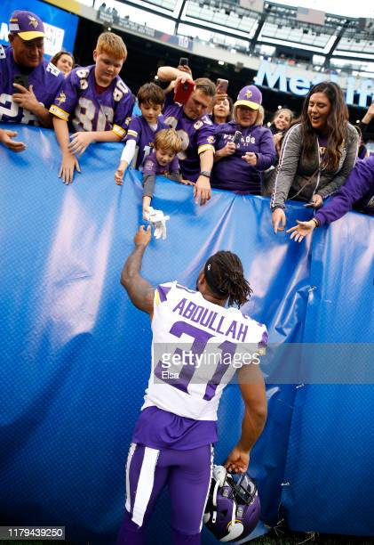 Ameer Abdullah of the Minnesota Vikings greets fans after the 28-10 win over the New York Giants at MetLife Stadium on October 06, 2019 in East...