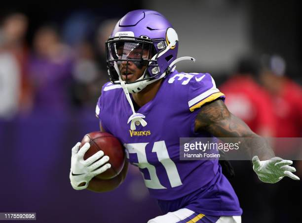 Ameer Abdullah of the Minnesota Vikings warms up before the game against the Philadelphia Eagles at U.S. Bank Stadium on October 13, 2019 in...