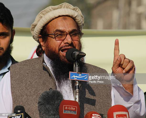 Ameer JamaatudDawa Hafiz Muhammad Saeed addressing the demonstrators during a protest against condemning the blasphemous caricatures of Prophet...