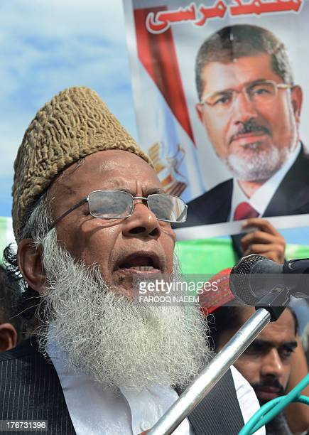 Ameer of Islamic political party JamaateIslami Syed Munawar Hassan addresses a rally in support of ousted Egyptian president Mohamed Morsi in...
