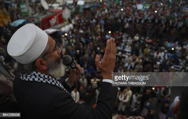 Ameer of JamaateIslami Pakistan Siraj ul Haq gestures as he addresses an antiUS and Israel protest rally in Karachi on December 17 following US...