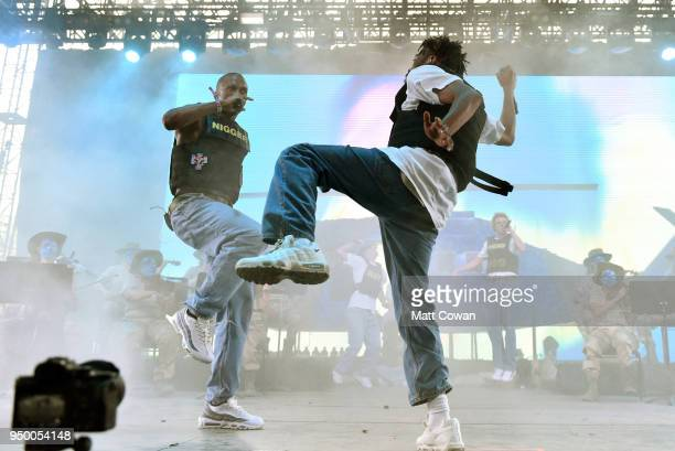 Ameer Vann and Kevin Abstract perform onstage during the 2018 Coachella Valley Music And Arts Festival at the Empire Polo Field on April 21 2018 in...