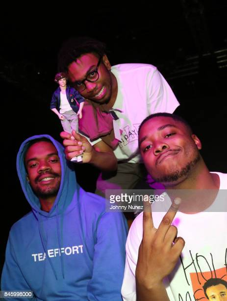 Ameer Vann Kevin Abstract and Dom McLennon of BrockHampton backstage at Highline Ballroom on September 11 2017 in New York City