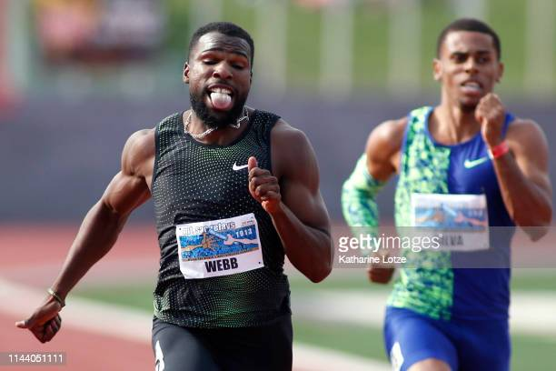Ameer Webb running for Nike sprints to the finish of the men's 200 meter dash on the second day of the 61st Mt SAC Relays at Murdock Stadium at El...