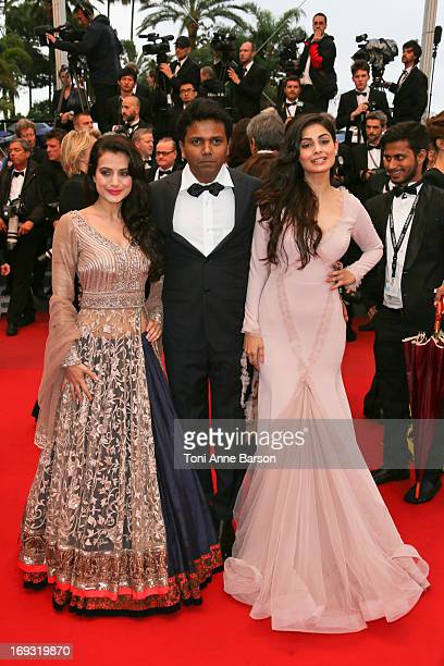 Ameesha Patel and Puja Gupta attend the Premiere of 'All Is Lost' during The 66th Annual Cannes Film Festival at the Palais des Festivals on May 22...
