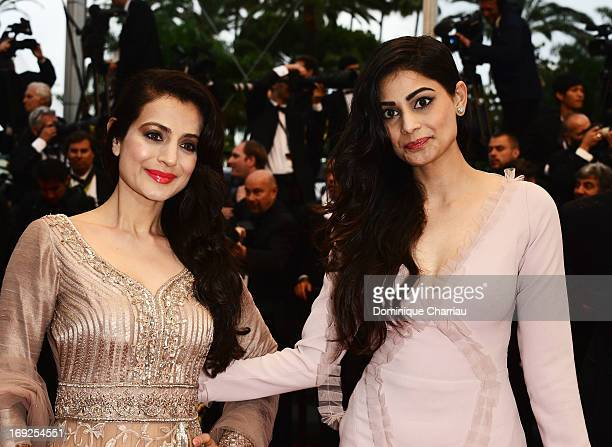 Ameesha Patel and Puja Gupta attend the Premiere of 'Shortcut Romeo' during The 66th Annual Cannes Film Festival at the Palais des Festivals on May...