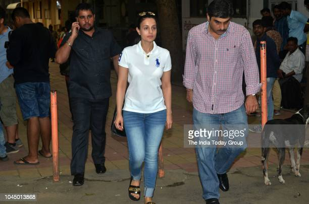 Ameesha Patel at the funeral of Krishna Raj Kapoor wife of Lt Raj Kapoor in Mumbai