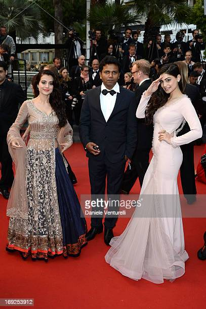 Ameesha Patel Susi Ganeshan and Puja Gupta attend the Premiere of 'Shortcut Romeo' during The 66th Annual Cannes Film Festival at the Palais des...
