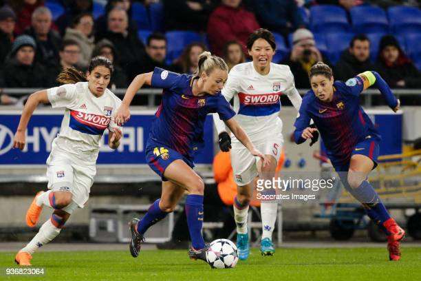 Amei Majri of Olympique Lyon Women Toni Duggan of FC Barcelona Women Saki Kumagai of Olympique Lyon Women Vicky Losada Gomez of FC Barcelona Women...