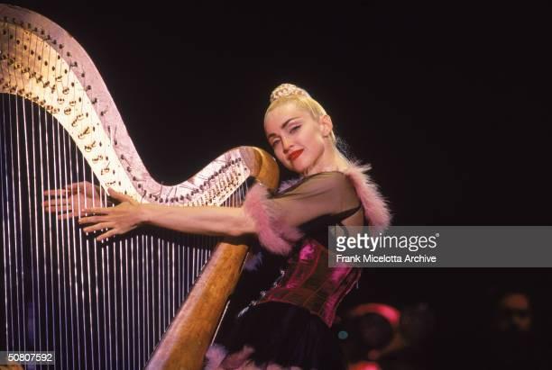 Ameican pop singer Madonna performs on stage in Kobe Japan April 1990