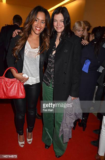 Amel Bent and Marianne Denicourt attend the Vanessa Bruno Front Row Paris Fashion Week Womenswear Fall/Winter 2012 at Thatre National de Chaillot on...