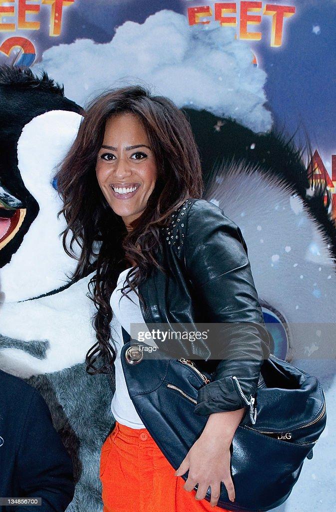 Amel Bent attends 'Happy Feet 2' Paris Premiere at Gaumont Capucines on December 4, 2011 in Paris, France.