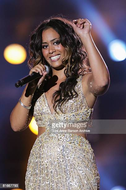 Amel Bent performs at the France 2 Television's 'Fete de la Musique' at the Auteuil Horse track on June 21 2008 in Paris France