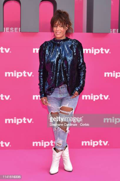 Amel Bent poses on the pink carpet during the 2nd Canneseries International Series Festival Day Five on April 09 2019 in Cannes France