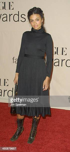 Amel Larrieux during The 2001 VH1/Vogue Fashion Awards Arrivals at The Hammerstein Ballroom in New York City New York United States