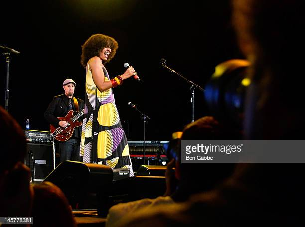 Amel Larrieux performs at the City Parks Foundation Presents Summerstage Gala The Music of Jimi Hendrix at Rumsey Playfield on June 5 2012 in New...