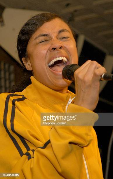 Amel Larrieux performs during CocaCola Celebrates Nu Classic Soul Ad Campaign at Eugene in New York City NY United States