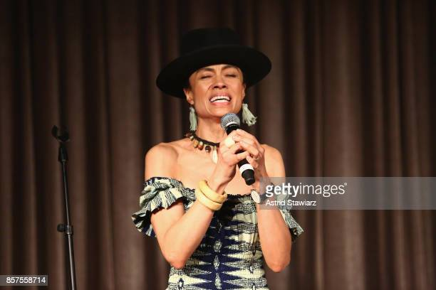 Amel Larrieux performs onstage during the Coalition Against Trafficking In Women's 2017 Gala Game Change A Night Of Celebration at Tribeca Rooftop on...