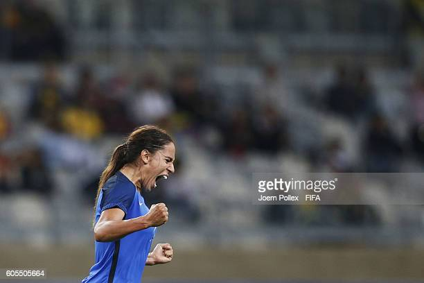 Amel Majri of France after scoring her team's fourth goal during Women's Group G match between France and Colombia on Day 2 of the Rio2016 Olympic...