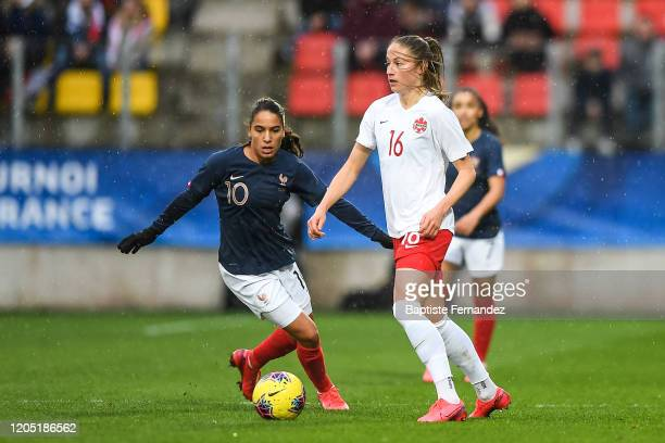 Amel MAJRI of France and Janine BECKIE of Canada during the Tournoi de France International Women's soccer match between France and Canada on March 4...