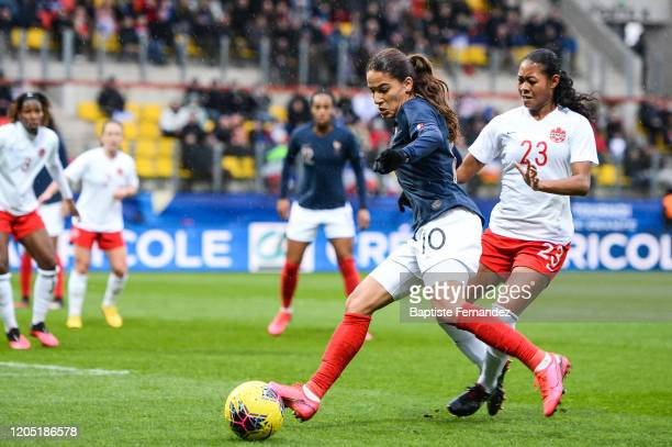 Amel MAJRI of France and Jayde RIVIERE of Canada during the Tournoi de France International Women's soccer match between France and Canada on March 4...