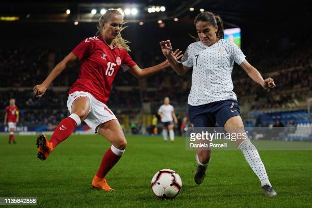 Amel Majri of France attacking against Frederikke Thogersen of Denmark during the international friendly football match between France Women v...