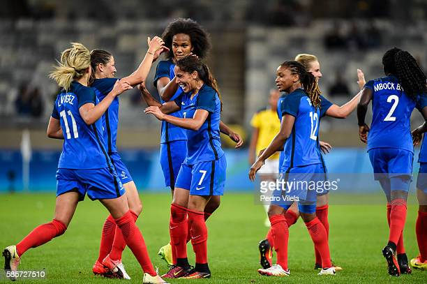 Amel Majri of France celebrates a scored goal against Colombia during a match between France and Colombia as part of Women's Football Olympics at...