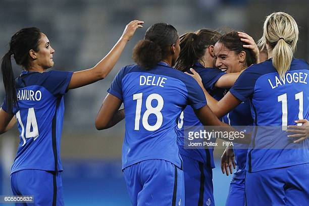 Amel Majri of France celebrates with her team mates after scoring her team's fourth goal during Women's Group G match between France and Colombia on...