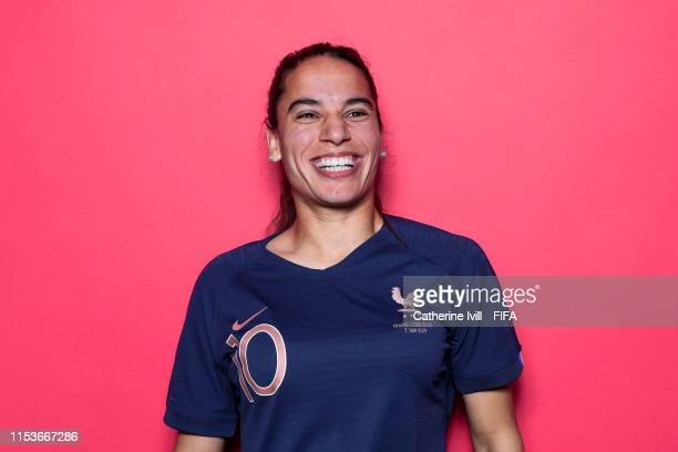 Amel Majri of France poses for a portrait during the official FIFA Women's World Cup 2019 portrait session at Hotel Clairefontaine on June 04 2019 in...