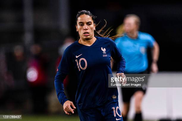 Amel Majri of France runs in the field during the friendly match between France and Switzerland at Saint-Symphorien Stadium on February 20, 2021 in...